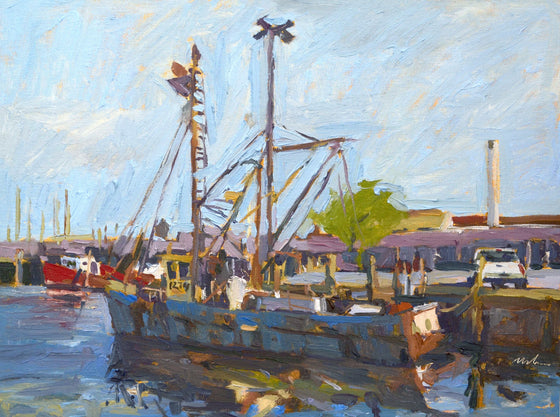 Original Oil Painting by Robert Abele - Unloading the Catch