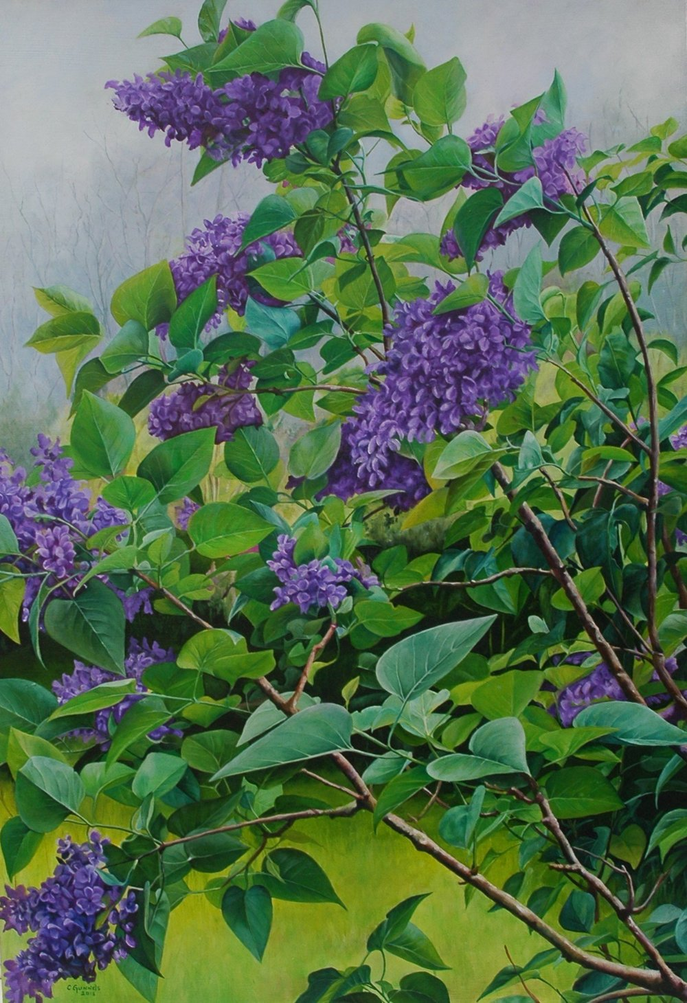 """Lilacs"", Original Oil Painting by Christy Gunnels LaGue"