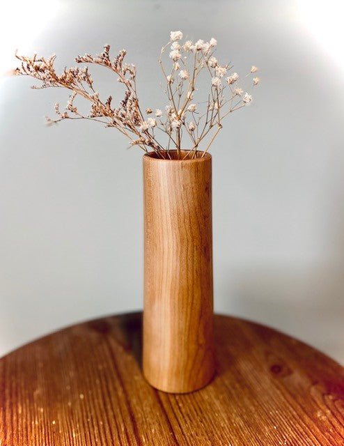 Wood Turned Vase, Cherry Cylinder