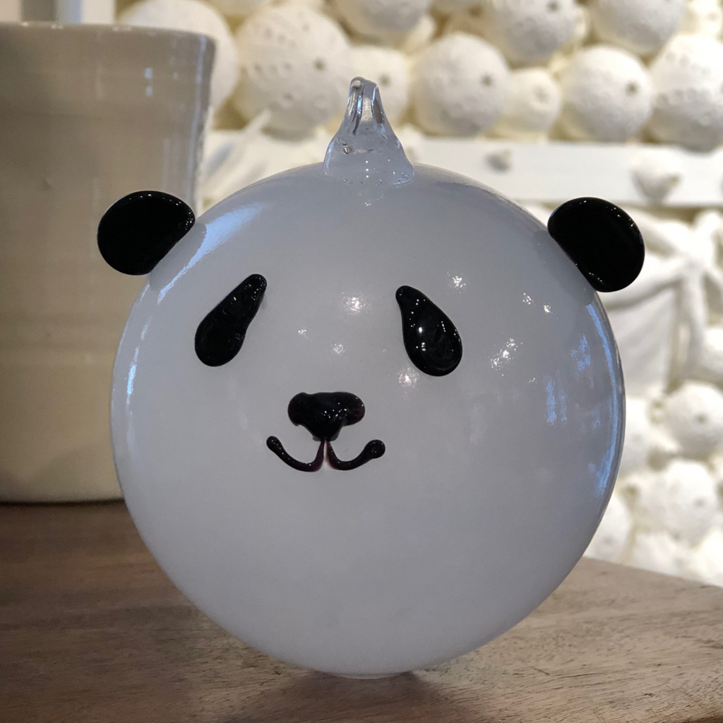 Hand Blown Glass Animal Ornament - Panda Bear