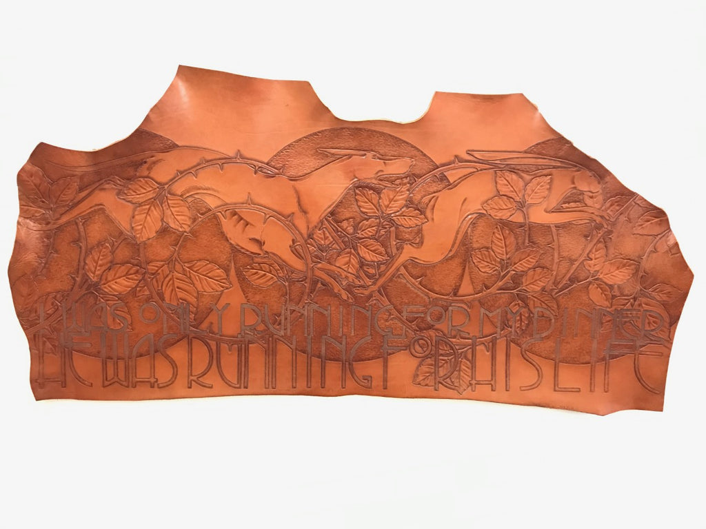 Tooled Leather Wall Hanging, The Hound and the Hare