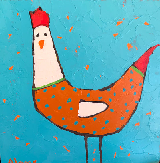 Hen I, Original Painting by Phyllis Dobbyn Adams