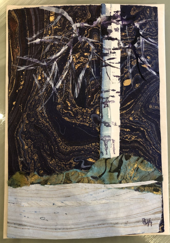 Birches Greeting Cards by Mary Ross