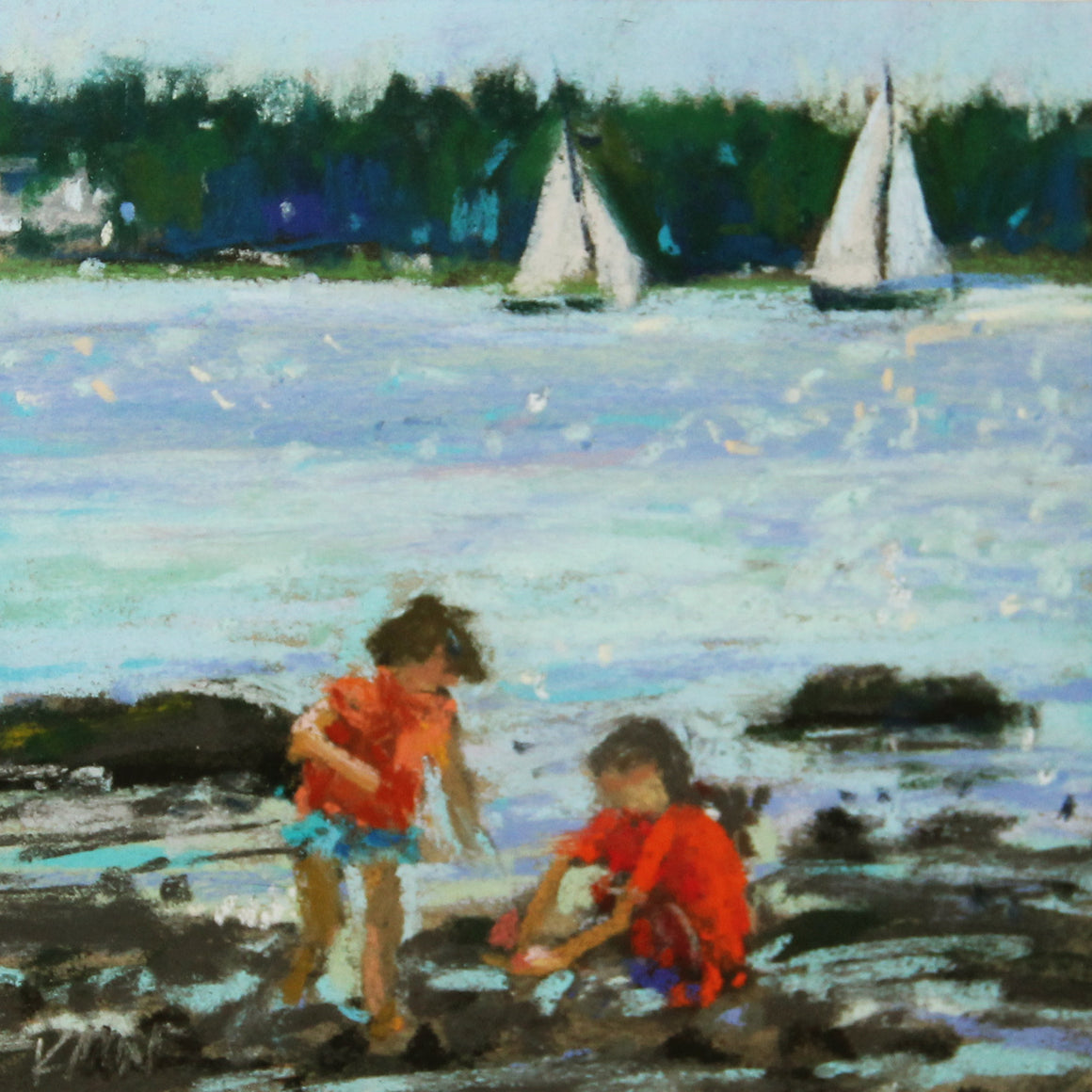 beach day original pastel by kim morin weineck