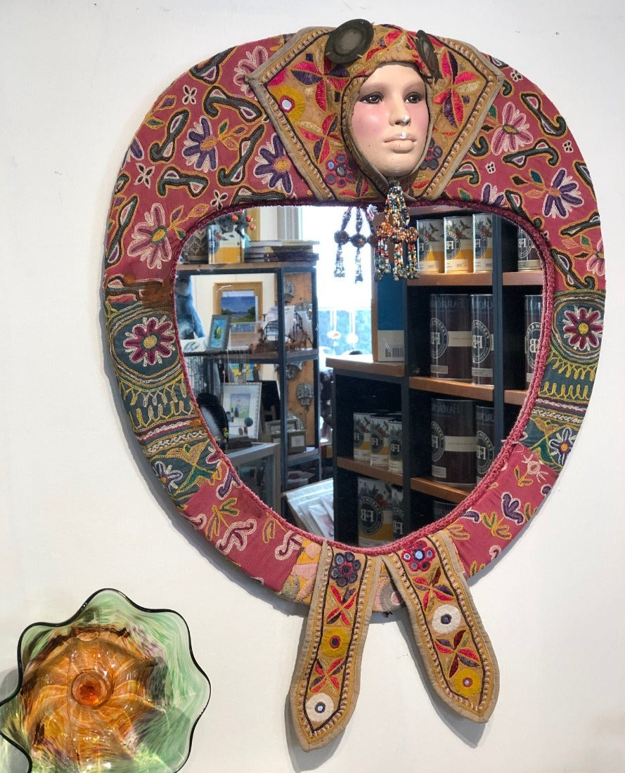 1960s Vintage Mirror with Indian Crewel Work
