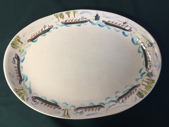 Oval Ceramic Swanboat Platter