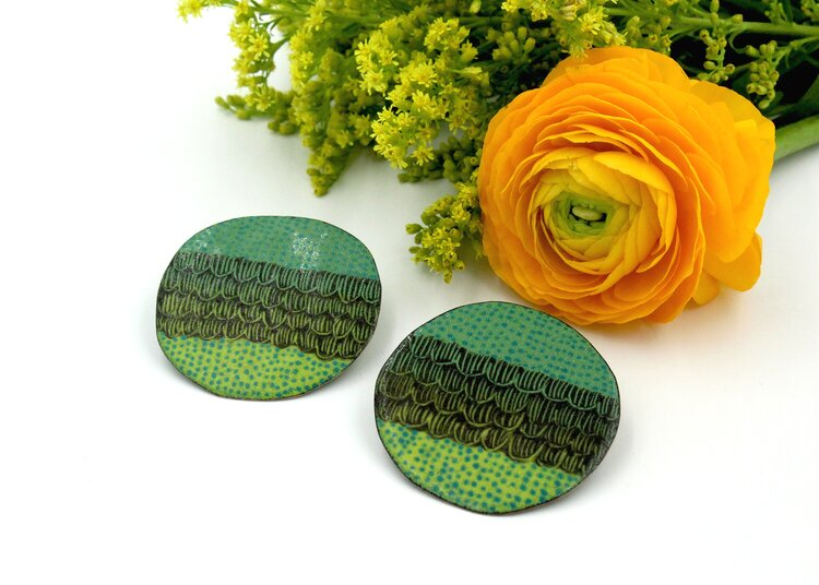 Tanya Crane Earrings Green Layers