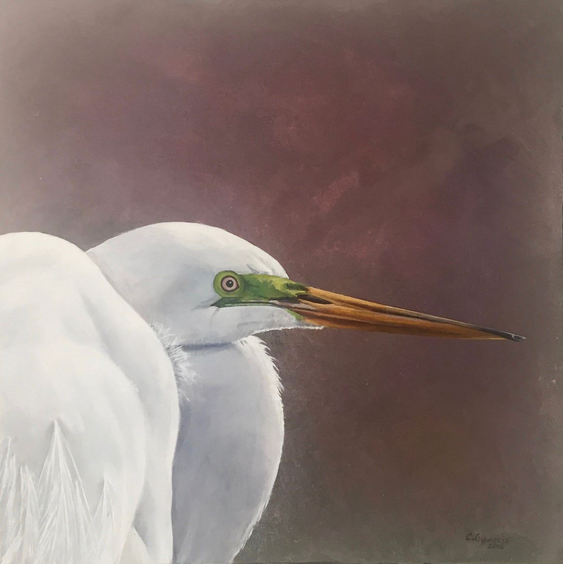"""Great White Egret"", Original Oil Painting by Christy Gunnels LaGue"