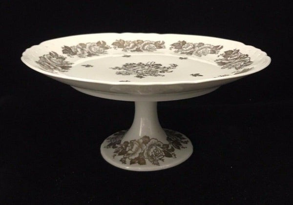 Vintage Decorative Hand Painted Porcelain Cake Stand Tray Floral Pattern
