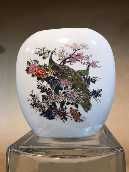 Oriental style Porcelain vase with Peacock Vintage
