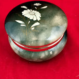 Green Marble Trinket Jewelry Box With White Flower Inlay Vintage