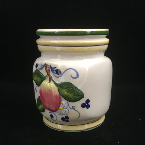 Vintage Decorated Ceramic Jar with Lid
