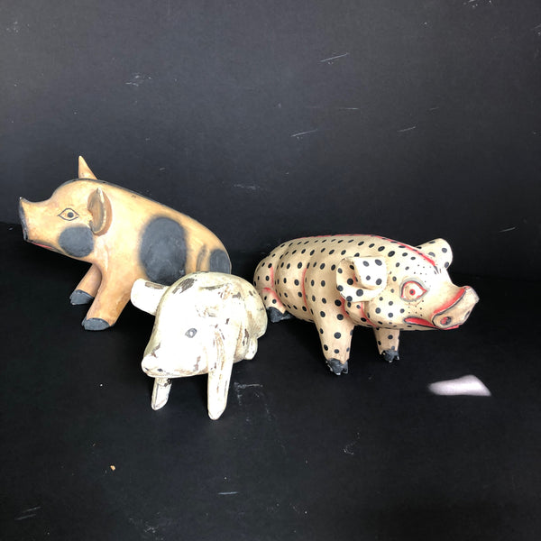 3 PIGS wooden figurine hand made and hand painted