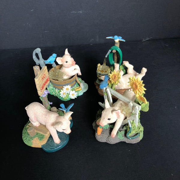 4 PIGS figurine. Highly decorative, from Farm Livin' Collection