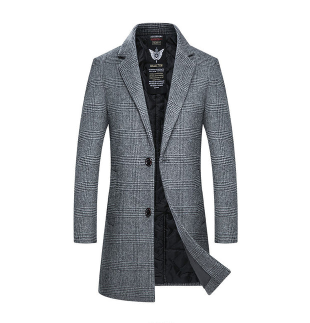 West Louis™ Winter Woolen Plaid Coat