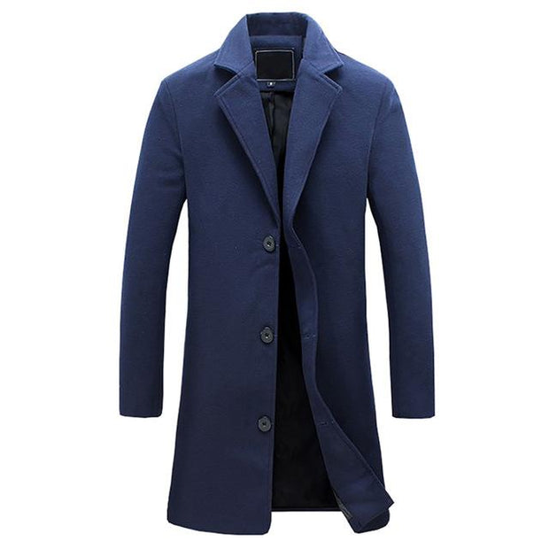 West Louis™ Business-Man Windproof Long Coat Blue / XXXL - West Louis