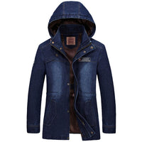 West Louis™ Long Sleeve Hooded Denim Overcoat