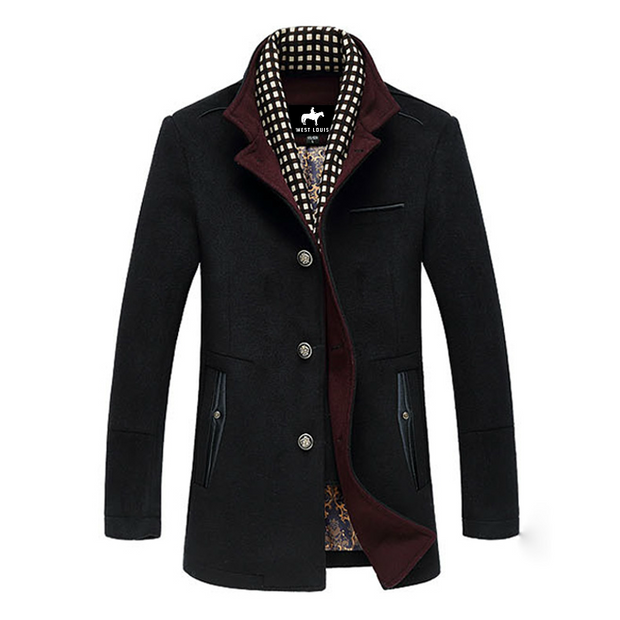 West Louis™ Splice Woolen Overcoat