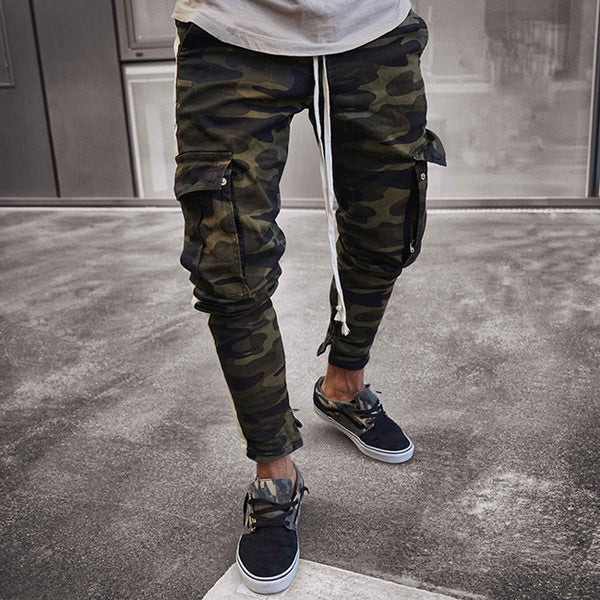 West Louis™ Side Stripe Camo Streetwear Joggers