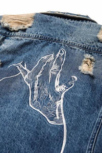 West Louis™ Ripped Ribbon Distressed Denim Jacket