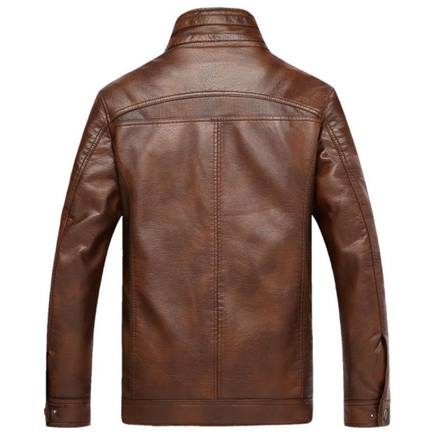 West Louis™ PU Leather Plus Velvet Stand Collar Jacket