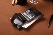 West Louis™ Retro Oil Wax Leather Short Wallet  - West Louis