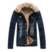 West Louis™ Warm Removable Fur Collar Slim Jacket Blue / M - West Louis