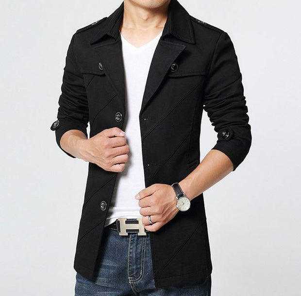 West Louis™ Cotton Parka Long Blazer Black / S - West Louis