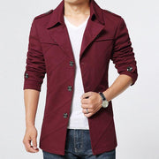West Louis™ Cotton Parka Long Blazer Wine / S - West Louis