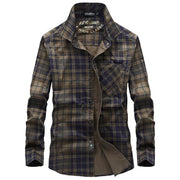 West Louis™ Masculin Long Sleeve Plaid Shirt
