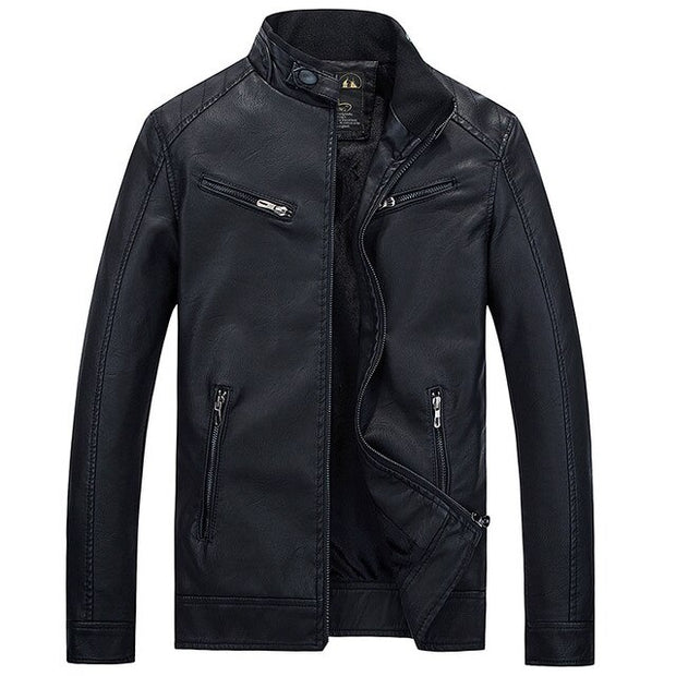 West Louis™ PU Pocket Zipper Leather Jacket