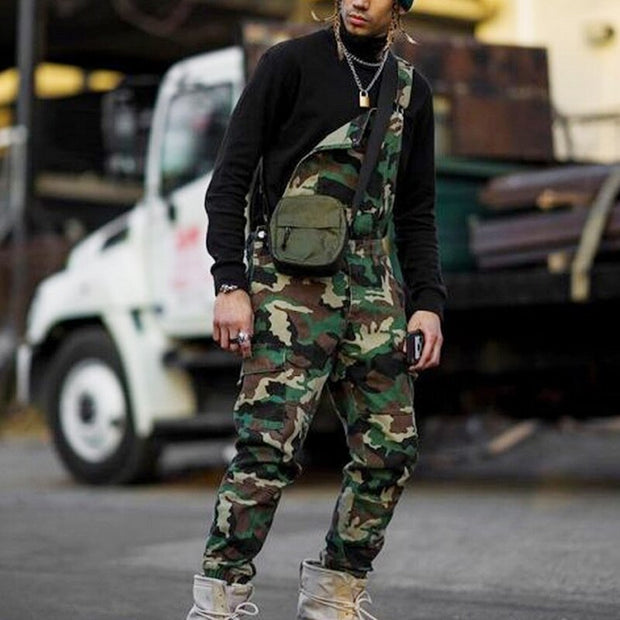 West Louis™ Single Shoulder Camouflage Denim Overall
