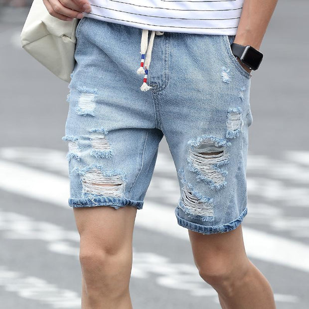 West Louis™ Designer Holes Denim Shorts  - West Louis