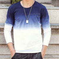 West Louis™ Fashion O-Neck Long Sleeve T-Shirt White dyed blue / M - West Louis