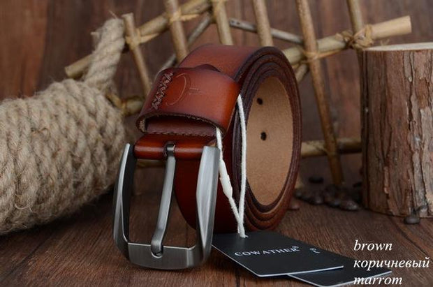 West Louis™ Vintage Style Pin Buckle Cow Genuine Leather Belt Brown / 100cm - West Louis