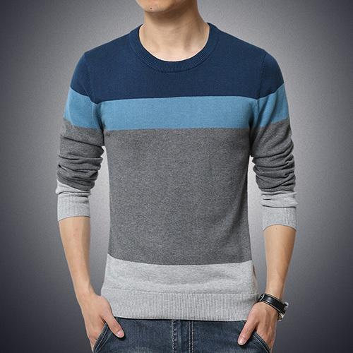 West Louis™ Casual O-Neck Sweater Pullover Blue / M - West Louis