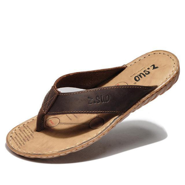 West Louis™ Leisure Fashion Leather Flip-Flops Brown / 6.5 - West Louis