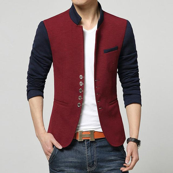 West Louis™ Fashion Patchwork Casual Blazer Red / S - West Louis