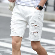 West Louis™ Designer Holes Denim Shorts White / 29 - West Louis