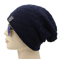 West Louis™ Knitted Fur Beanie navy - West Louis