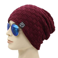 West Louis™ Knitted Fur Beanie wine red - West Louis