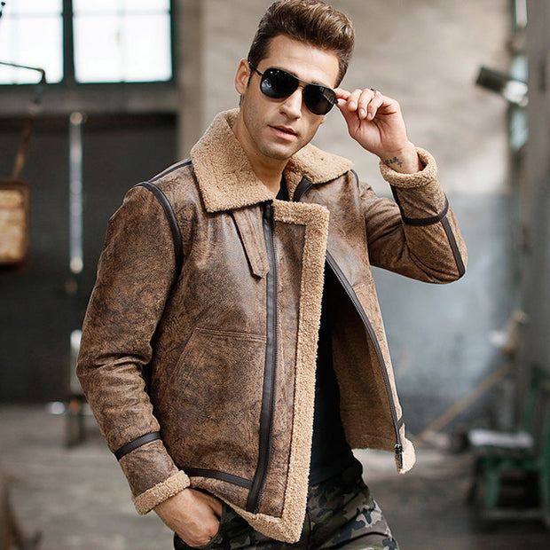 West Louis™ Real Leather Warm Aviator Jacket