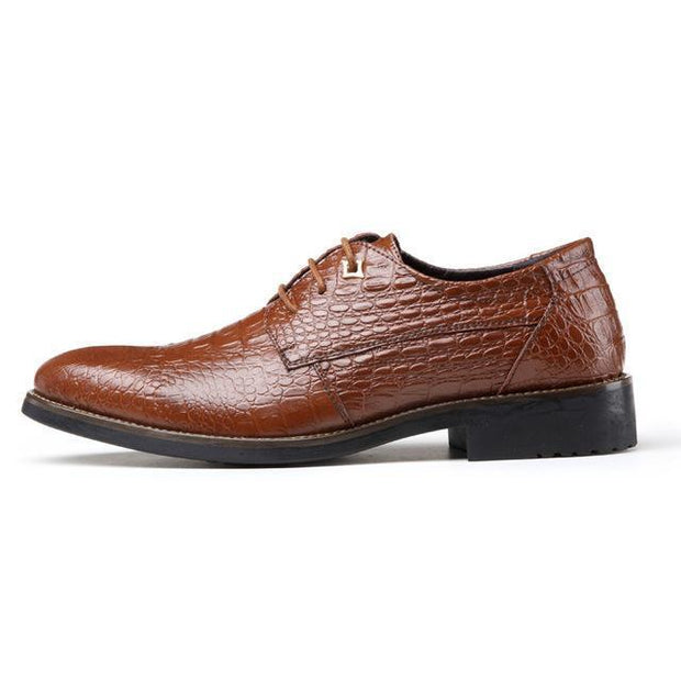 West Louis™ Retro Crocodile Pattern Leather Shoes Brown / 6.5 - West Louis