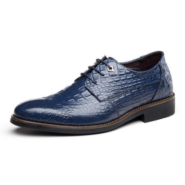 West Louis™ Retro Crocodile Pattern Leather Shoes Blue / 6.5 - West Louis