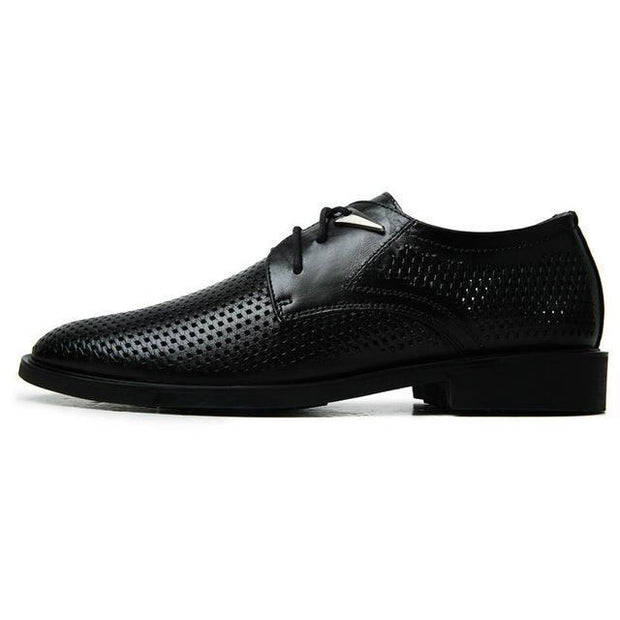 West Louis™ Hollow Leather Pointed Hole Shoes Black / 7 - West Louis