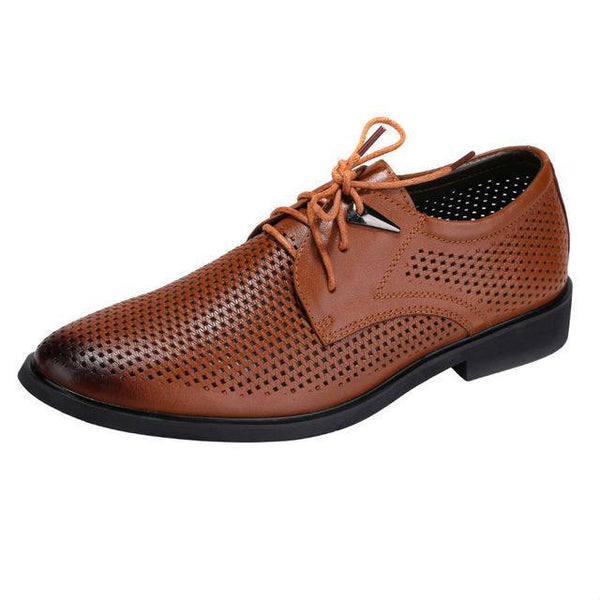West Louis™ Hollow Leather Pointed Hole Shoes Light brown / 7 - West Louis
