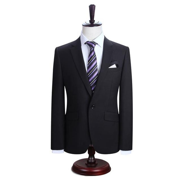 West Louis™ New York Slim Fit One Button Suit ( Blazer + Pants) Black / XS - West Louis