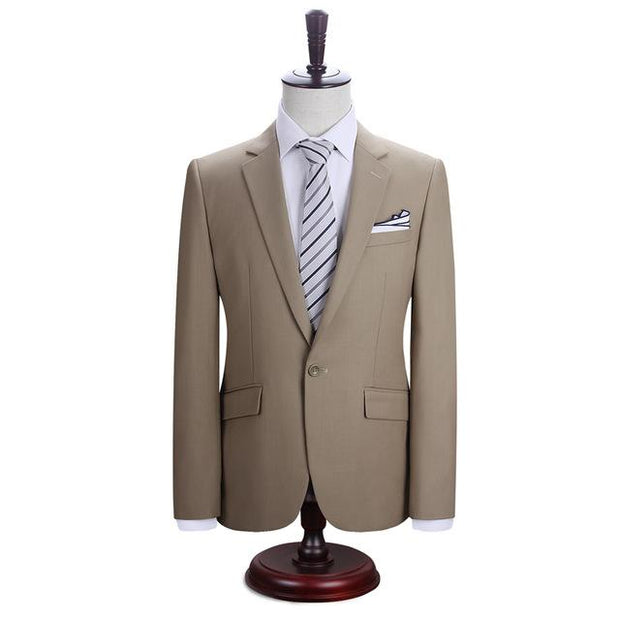 West Louis™ New York Slim Fit One Button Suit ( Blazer + Pants) Khaki / XS - West Louis