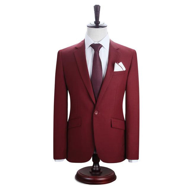 West Louis™ New York Slim Fit One Button Suit ( Blazer + Pants) Red / XS - West Louis