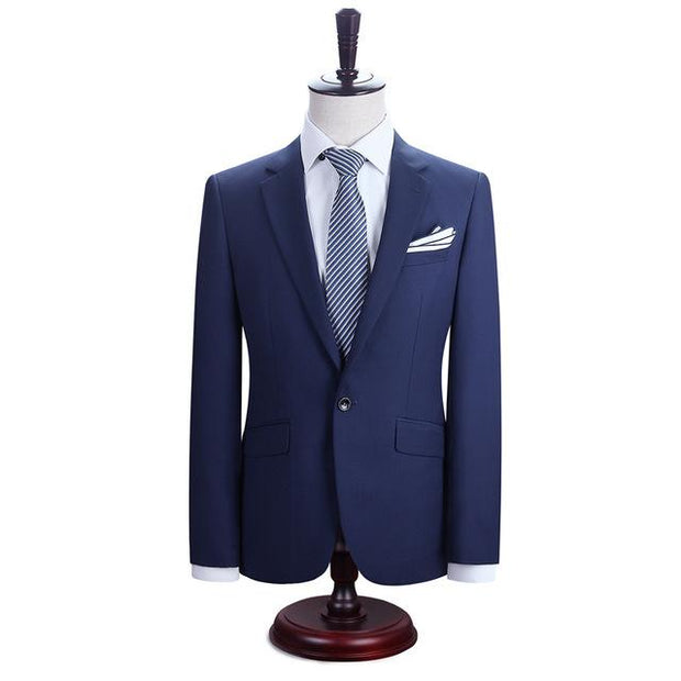 West Louis™ New York Slim Fit One Button Suit ( Blazer + Pants) Sky Blue / XS - West Louis